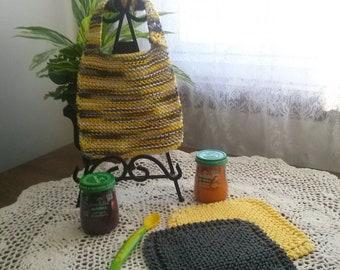 Bumble Bee Yellow Hand Knit Baby Bib and Washcloth Set