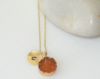 Red Druzy Necklace, Gold Jewelry, Personalized Jewelry, Gold Necklace
