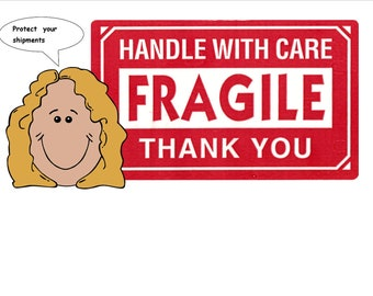 "Fragile Labels Stickers 3"" x 5"" Fragile Labels  Stickers Handle with Care Fragile Stickers Roll of 500"