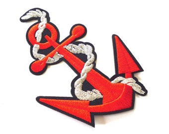 Red Anchor Patch Iron On With Silver Rope Applique 5 Tall