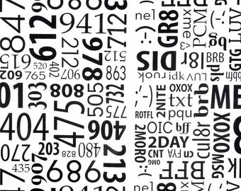 Texting Fabric, Cell Phone Fabric, Call Me/Text Me Fabric Panel - Black & White Text, Fabric for Teens