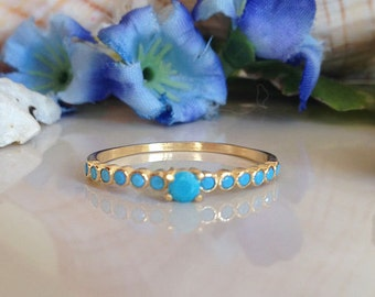 20% off-SALE!! Turquoise Ring - Sleeping Beauty Turquoise - December Birthstone - Delicate Ring - Slim Band - Simple Jewelry - Bezel Ring