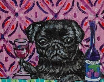 25% off pug art - black pug at the wine bar dog art tile coaster gift - pug gifts