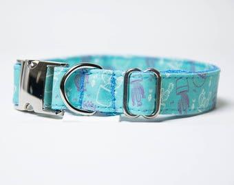 "Dog Collar ""Cactus Blue"" Dog Collar and Leash Set"