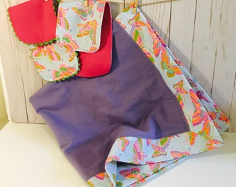 Purple Butterfly Baby Blanket and Burp Cloth Gift set