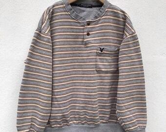 20% Off Vintage Lyle & Scott Sweatshirt Crewneck Casual Sweater Black Label Streetwear Stripe Sweater