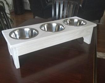 Medium 3 Bowl Dog Feeder, Personalized Dog Feeder, Raised Pet Feeder,  Dog Feeder with Name, Elevated Pet Feeder, Dog Bowl with Stand