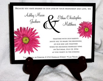 100 Pink Daisy Wedding Invitations, RSVP's, Reception Insert w/ FREE Calendar Stickers