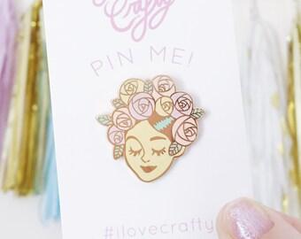 Enamel pin, Bridesmaid pin, Lapel pin, rose pin, Gifts for her, teen girl gift, enamel pins, statement jewelry, Bridesmaid gift, rose,