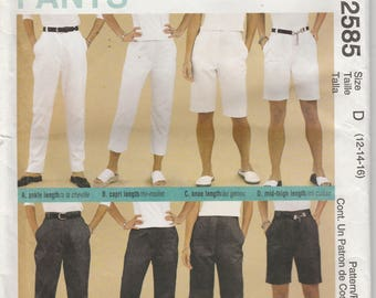 Pants Pattern Perfect Fit, Fly Front Zipper Misses Size 12 - 14 - 16 uncut McCalls 2585