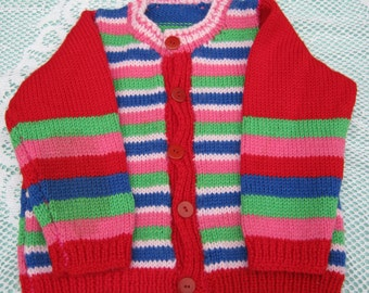 Gorgeous Multicoloured Striped Cardigan Hand Knitted for a Girl Aged around 2 to 3 years.