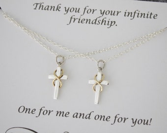 Friendship Infinity Cross Necklace Gift Set, 2 cross necklace set, BFF, Set of two, Sterling Silver and Gold, Best Friend Gift, Sister Gift