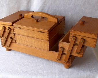 Vintage Fold Out Sewing Box, Accordian Style