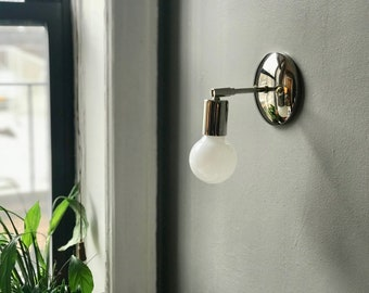 Polished Nickel Wall Sconce • Soho Sconce • Bathroom Vanity Light • Minimalist • Mid Century Modern Sconce • Danish Modern Wall Light