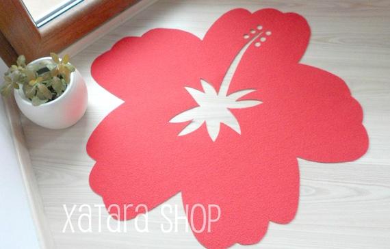 Hibiscus Flower Rug Doormat With Flower Silhouette Hawaii