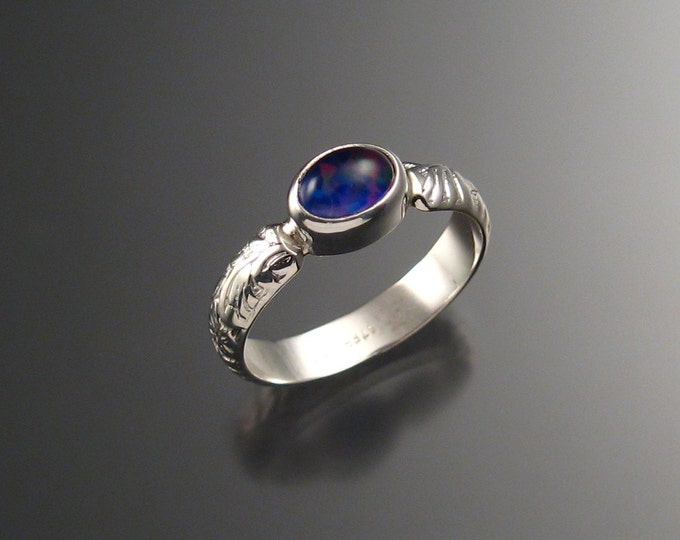 Amethyst and lab Opal Doublet ring Sterling Silver made to order in your size