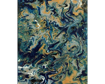 """Fluid Painting   Modern Art   Abstract Small Canvas   """"Mother Earth"""" - 12x9"""""""
