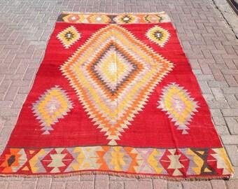 """Vintage rug, Kilim rug, red area rug, 66"""" x 106"""", kilim rug, kelim rug, rug, rustic rug, rugs, tribal rug, floor rug, unique area rug, 369"""