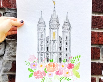 Salt Lake City LDS Temple Watercolor (SLC Temple)