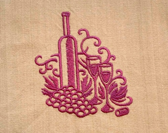Wine & Dine Tea Towel | Embroidered Kitchen Towel | Personalized Kitchen | Dish Towel | Embroidered Towel | Hand Towel | Dish Towel