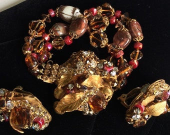 Fabulous Vintage Miriam Haskell Bracelet Earring Set~Beads/RS/Filigree~Signed