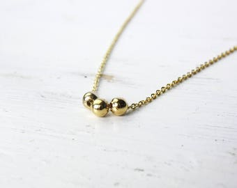 Golden Pearl dot - gold-plated necklace A33