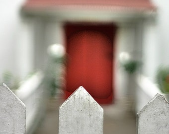 """Red Door Beyond the Fence Photograph, """"Let Me In"""" Fine Art Print. White Picket Fence Caribbean. 8x10, 11x14, 16x20, 20x24, 24x30, 24x36"""