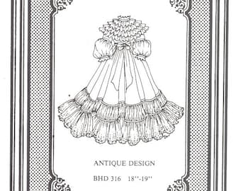 Doll dress gown Antique vintage look sewing pattern uncut  316
