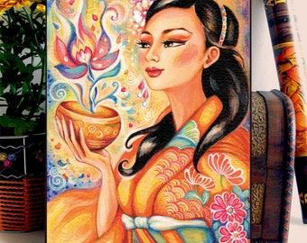 Geisha and Flower Asian Girl Woman Painting, home decor wall decor woman art, ACEO wood block, CG