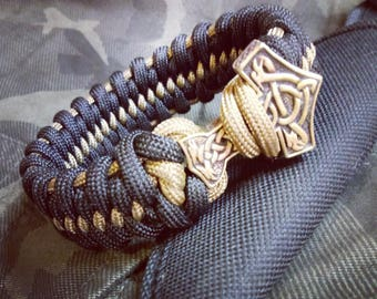 Bracelet paracord, Thor's hammer, survival bracelet, edc gear, accessory, beautiful gift, celtic knot, brutal style