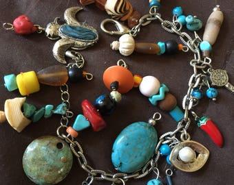 Vintage Silver Southwestern Charm Bracelet