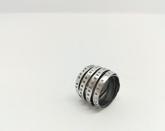 Silver book-ring with text - maxi with 7-8 rounds