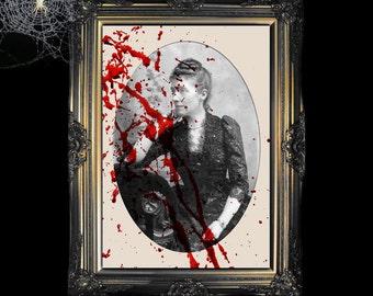 Blood Splatter On A Victorian Photo 8x10 Digital Download - Halloween Decoration - Haunted Printable