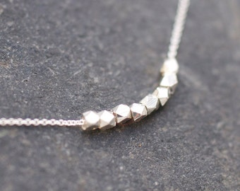 Silver Tiny raw nugget necklace on delicate sterling silver chain