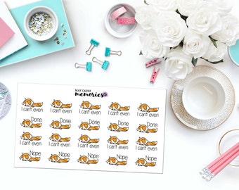 """KAWAII """"Can't Even"""" FOXES Paper Planner Stickers! - SS158"""