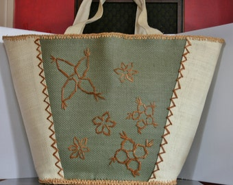 Large Tote - Floral Canvas or Burlap Bucket Tote Bag - 1960s