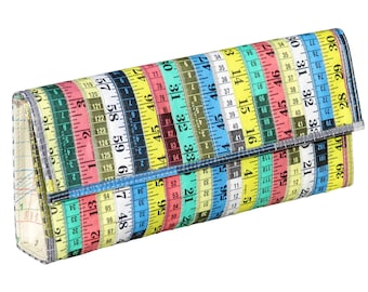 Clutch purse made from measuring tape - FREE SHIPPING - Vegan clutch handbags, evening clutch, Upcycled gifts, Unique Bag knitter sewer