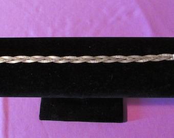 Vintage Braided Herringbone Sterling Silver 925 Bracelet