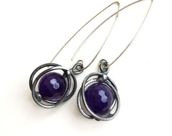 Jade Earrings, Jadeite Earrings, purple earrings, dangling earrings, love, Violet balls, hand made, unique, by Artegato
