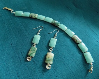 GIFT WITH PURCHASE, Faceted Crysocolla & Amazonite Rectangles, Bracelet and Gift With Purchase, Earrings