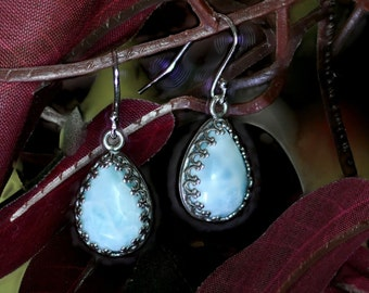 Natural Larimar 10x14mm Pear Shaped Dangle Earrings .925 Sterling Silver