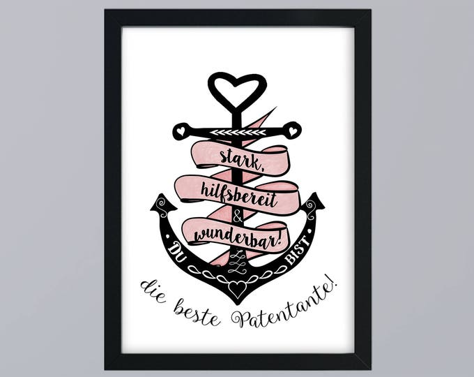 You're the best godmother anchor pink gift family