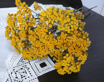 Tansy, dried tansy, yellow tansy, yellow wedding, wedding decor.