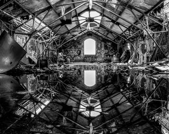 Mirror Mirror - Abandoned - Urban Decay - Industrial - Black + White - Fine Art Print - Photograph - Wall Art