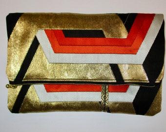 Retro Interlocking Gold Hexagons Two-way Fold Over Obi Silk Clutch Purse