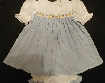 Cute as a button baby girl dress and bloomers