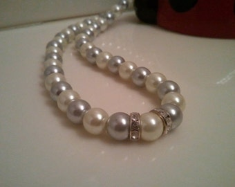Handmade Beaded Necklace - Silver Pearl Necklace - Silver Necklace - Pearl and Rhinestones Necklace - Silver and Pearl Wedding Necklace