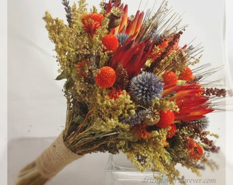 Orange Rustic Dried & Preserved Flower Wedding Bouquet - Bridal Bouquets - chocolate brown, gray, grey, fall - TEQUILA SUNRISE COLLECTION