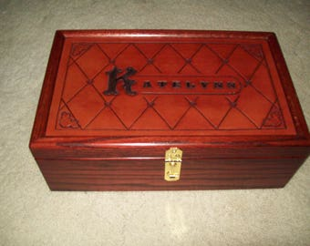 Hand-Tooled Leather-Topped Personalized Treasure Box