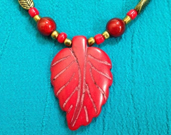 Red and Bronze Autumn Leaf Beaded Necklace